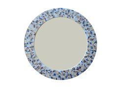 Round Mirror Mosaic Wall Art Blue Brown Gray by GreenStreetMosaics