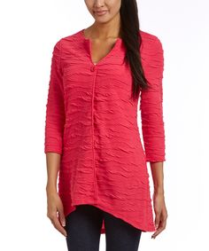 Look at this Samuel Dong Hot Pink Textured Cardigan on #zulily today!