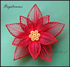 Quilled poinsettia Christmas card by SUGANTHI Her website is located at: Quilled poinsettia Christmas card.