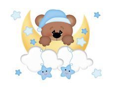 TEDDY BEAR DECAL Mural Wall Art Moon Star by decampstudios on Etsy