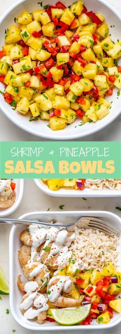 {NEW} Shrimp + Pineapple Salsa Bowls🍤🍍🌶 We've been enjoying tropical fruits these past few weeks at our house because I've noticed they're plentiful at our Clean Recipes, Beef Recipes, Healthy Recipes, Healthy Dinners, Healthy Options, Easy Recipes, Lunch Meal Prep, Meal Prep Bowls, Clean Eating Kids