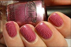 Essence Let me in Pink for the base, than stamped the curves using Color Club Hot Like Lava and Red Angel plate 106, and of course one coat of Seche Vite