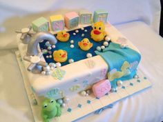Rubber ducky in a tub baby shower -