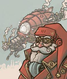 Steampunk Santa Clause and Sleigh!!!  Fantastic!