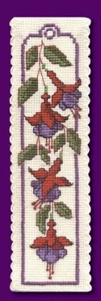 Counted cross stitch - a Fuschias Bookmark I made. I bought the kit in England from the Textile Heritage collection..
