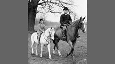 The princess clearly had a love for ponies from an early age and spent her 10th birthday riding her new white horse in Windsor Great Park accompanied by her riding master.