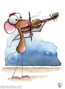 ACEO Original Watercolor Folk Art Whimsical Painting Mouse Music Violinist   eBay