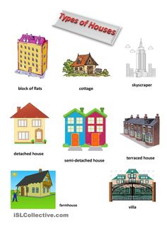 The objective of this worksheet is to practise the vocabulary connected with the types of housing buildings. It is a vocabulary worksheet which includes. Free Kindergarten Worksheets, Worksheets For Kids, The Napping House, Basic Sight Words, Learning English For Kids, Types Of Houses, Idioms, English Vocabulary, Learn English