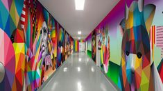 Okuda San Miguel has worked with Formica Group to create a make-believe world of wildlife, which now adorns the walls of wards in San Carlos Hospital. Geometric Shapes Design, Shape Design, Geometric Art, Formica Laminate, Okuda, Madrid, Wall, Artwork, Inspiration