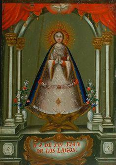 A 19th century Mexican retablo of Our Lady of San Juan de los Lagos in Jalisco, Mexico. Siglo 19 Retablo de la virgen de San Juan de los lagos, Jalisco México, antigüa.