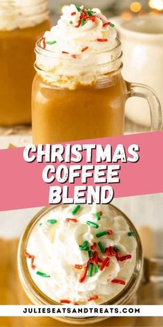 Looking for the perfect warm Christmas beverage? This easy Christmas coffee is a flavorful combination of holiday spices brewed right in your coffee pot, mixed with warm milk and topped with whipped cream and sprinkles. It's a great way to start your Christmas morning and is beyond easy to make. Brew up a whole pot of to enjoy with the whole family throughout the holidays!