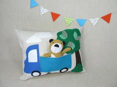 Playful Pillow with Bear by violastudio on Etsy, $49.00