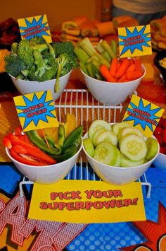 Superpower veggies at a superhero birthday party! See more party ideas at http://CatchMyParty.com!
