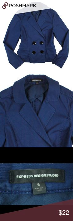 """EXPRESS Blue Cotton Lightweight Peacoat Jacket Excellent condition! This lightweight blue cotton jacket from EXPRESS features a double breasted style and is unlined. Made of a cotton blend. Measures: Bust: 36"""", total length: 21"""", Sleeves: 24.5"""" Express Jackets & Coats"""