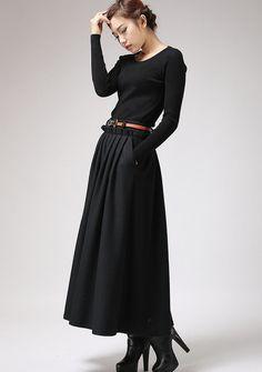 Black Wool Maxi Skirt - Long Pleated Full skirt  with Side Hip Pockets & Ruffle Waist Detail (721)