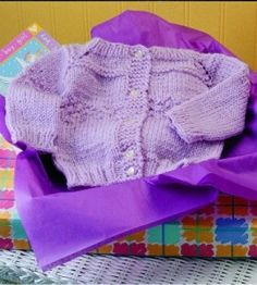 {Vintage} Knitted Lavender Baby Sweater: Rest assured, baby will be snug and secure in this stylish and cozy car­digan. countrywomanmagazine.com knittingcrochet idea, knit lavend, lavend babi, babi knit, baby sweaters, babi cardigan, knit craft, knit babi, babi sweater
