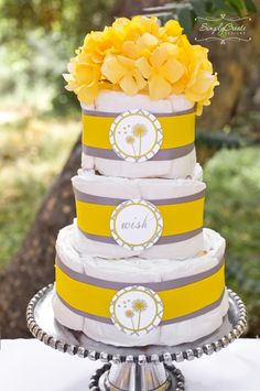 Diaper Cake at a Yellow and Gray Baby Shower #babyshower #diapercake