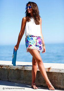 Pom Pom Ball Fringe Shorts - A - silvia