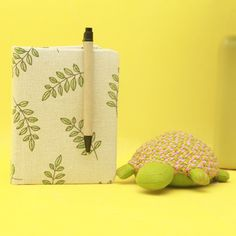 Hand Printed Diary With Pen and Turtle Fabric Figurine