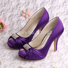 d000b57c1c08 Aliexpress.com   Buy Dropshipping Bridal Wedding Shoes Purple Womens Heels  Square Peep Toe with Charms from Reliable wedding shoes off white suppliers  on ...