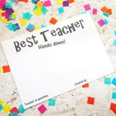 Teacher Thank You, Best Teacher, Teacher Gifts, Free Printables, Gift Ideas, Prints, Presents For Teachers, Free Printable, Teacher Appreciation Gifts