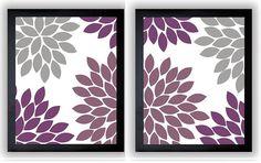 Flower Print Grey Gray Purple Plum Chrysanthemum Flowers Art Set of 2 Print Wall Decor Modern Minimalist Bathroom Bedroom