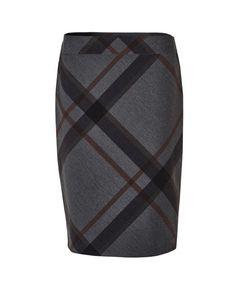 Grey Plaid Pencil Skirt