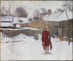 Sargent painted this canvas in the company of his fellow expatriate Edwin Austin Abbey in Fairford, Gloucestershire, where the two artists had rented a studio for their work on mural commissions. As a diversion one day, they arranged a mannequin in the snow and painted oil sketches of it from their studio window