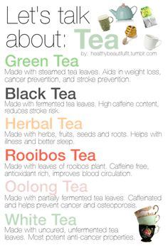 Find out about the different types of tea. Get the facts and more information about coffee & tea at: http://www.allaboutcuisines.com/interesting-articles/coffee-and-tea #tea #tea types  #IAmBiotic