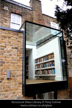 """GLASS """"Open air"""" LIBRARY. Add light & space to your home by Culmax, specialist manufactures & installers of glass walls, doors, floors & roofs. London, England.  [Do not remove caption. The law requires you to credit the copyright holder. Link directly to firms's website.]   PINTEREST on COPYRIGHT:  http://pinterest.com/pin/86975836526856889/ HOW TO FIND the image creator & the original firm's website: http://www.pinterest.com/pin/86975836525507659/"""