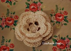 Free Crochet Patterns and Designs by LisaAuch: EASY Free Crochet Flower Pattern Pretty 3 layer Cr...