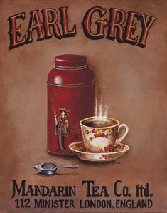 Gango Home Decor Tea Time Vintage Tea Signs Earl Grey, English Breakfast, Chamomile and Peppermint Four Hand-Stretched Canvases Ready to Hang Cafe Logo, Vintage Labels, Vintage Tea, Grey Canvas Art, Etiquette Vintage, Grey Tea, Cuppa Tea, Tea Tins, Earl Gray