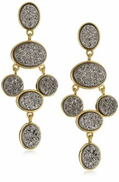 """gifts! Marcia Moran products Valentines sale – Marcia Moran """"Illume"""" Titanium Druzy Stone Chandelier 18k Gold-Plated Earrings 
