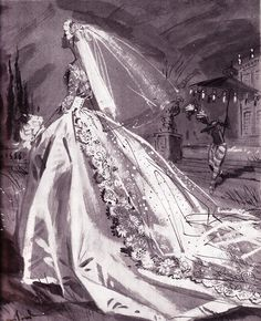 wedding dress illustration by Jay Hyde Crawford Wedding Dress Sketches, Wedding Dress Patterns, Wedding Dresses, Dress Illustration, Wedding Illustration, Vintage Wedding Photos, Vintage Bridal, Vintage Weddings, Vintage Outfits