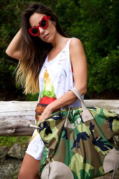 camouflage customized luggage - maxi tank - hamburger print - ootd . outfit