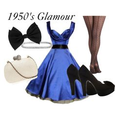 """1950's glamour"" - jewel tone a-line dresses to flatter curvy figures, black platform pumps, cute patterned tights with seams and sparkly accessories."