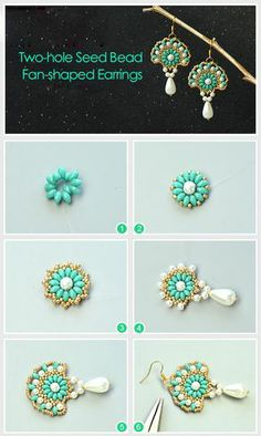 Two-hole Seed Bead Fan-shaped Earrings Tutoria