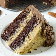 GERMAN CHOCOLATE CAKE - The Best Homemade German Chocolate Cake is a wonderfully delicious combination of chocolate cake, coconut and pecans! Perfect decadent dessert for chocolate lovers! Homemade German Chocolate Cake, German Chocolate Cheesecake, Cake Recipes, Dessert Recipes, Desserts, Decadent Cakes, Cake Servings, Yummy Cakes, Cupcake Cakes