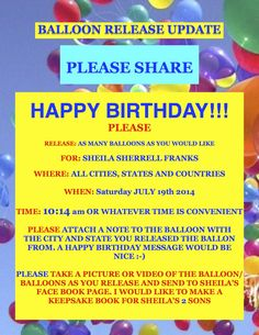 PLEASE SHARE!!!!!! PLEASE SHOW SHEILA'S BOYS PEOPLE DO CARE AND WANT TO HELP FIND THEIR MOM Fortuna California, Balloon Release, Humboldt County, The Balloon, Sisters, Happy Birthday, Mom, People, Happy Aniversary