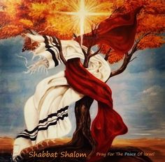 Pray for the peace of Israel. Tree with bursting light and scarves intwined. Prophetic art painting.