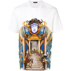 Versace palace print T-shirt ($715) ❤ liked on Polyvore featuring men's fashion, men's clothing, men's shirts, men's t-shirts, white, mens print shirts, mens cotton shirts, mens patterned shirts, mens cotton t shirts and mens short sleeve shirts