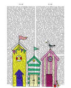 Beach Huts 1 Art Illustration Beach Art Beachhut par FabFunky, $15.00