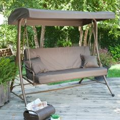 3-Person Convertible Canopy Swing Patio Bed in Chocolate - Quality House