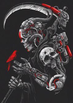 Cyber by Sony Wicaksana Arte Cyberpunk, Demon Art, Skull Wallpaper, Mobile Wallpaper, Skull Tattoos, Sleeve Tattoos, Grim Reaper Art, Character Art, Character Design