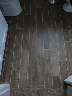 Loving our tile floor that looks like wood