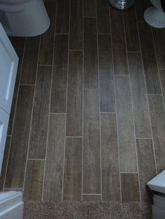 Loving our tile floor that looks like wood