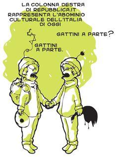 Approfondimenti culturali #colonna #destra #repubblica #repubblica.it #approfondimenti #bambini #bocca #volo #anatra #morte #catapulta #disco #frisbee #gatti #gattini #cats #cute #Animals #gatto #Comics #vignetta #vignette #Illustration #fumetto #fumetti #giallo #nero #zaino #cappelo #giornale