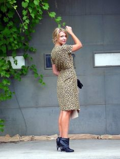Spotted: A timeless, leopard wrap dress thrifted by Style Blogger Jentine