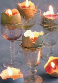 These recycle eggshells will make small candles look fabulous sitting in their little nests atop liqueur glasses.