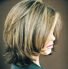 Shoulder Length Bob Styles The attractive bob has subtle layers cut around the sides and back to add shape to the length that is kept simple and solid to sit at the shoulders. This is perfect for people with fine to medium hair. The neat side swept bangs are slicked down on the forehead to frame the top of the face and enhance the bob.